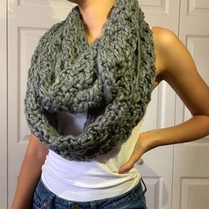 Grey Knitted Infinity Scarf